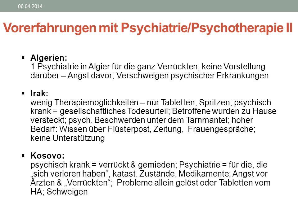 Vorerfahrungen mit Psychiatrie/Psychotherapie II