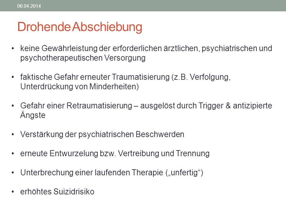 28.03.2017 Drohende Abschiebung. keine Gewährleistung der erforderlichen ärztlichen, psychiatrischen und psychotherapeutischen Versorgung.