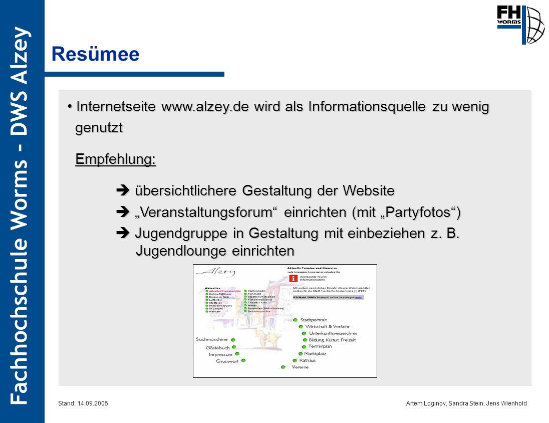 Resümee Internetseite www.alzey.de wird als Informationsquelle zu wenig. genutzt. Empfehlung:  übersichtlichere Gestaltung der Website.