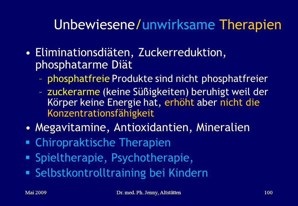 Unbewiesene/unwirksame Therapien