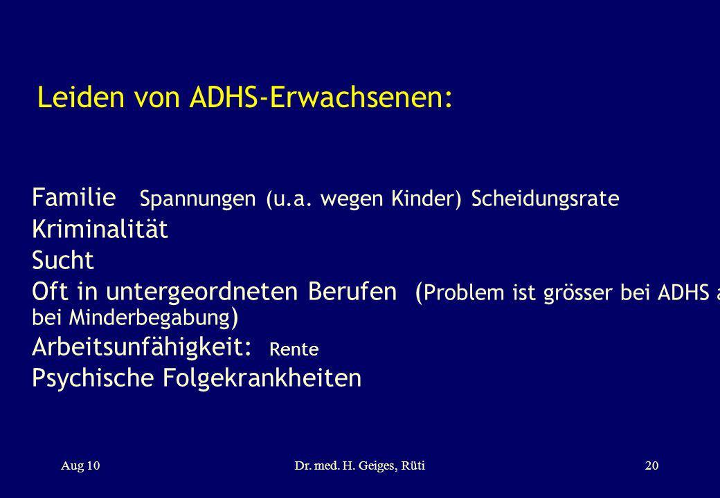 Leiden von ADHS-Erwachsenen: