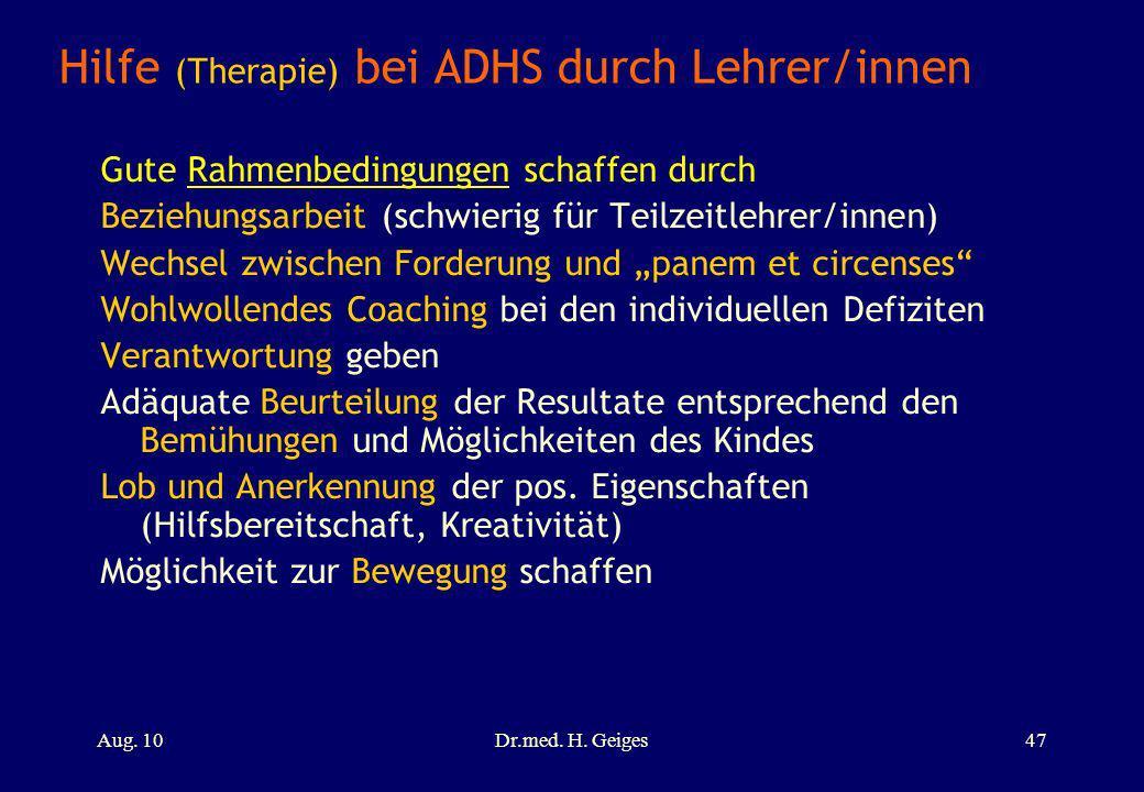 Hilfe (Therapie) bei ADHS durch Lehrer/innen