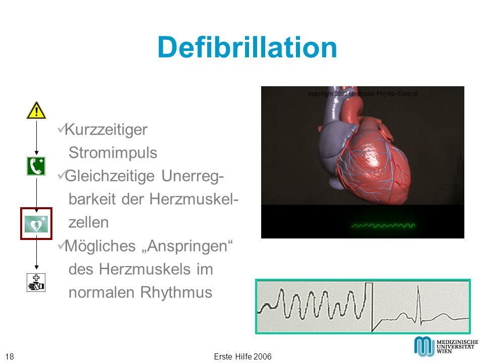 Defibrillation Kurzzeitiger Stromimpuls Gleichzeitige Unerreg-