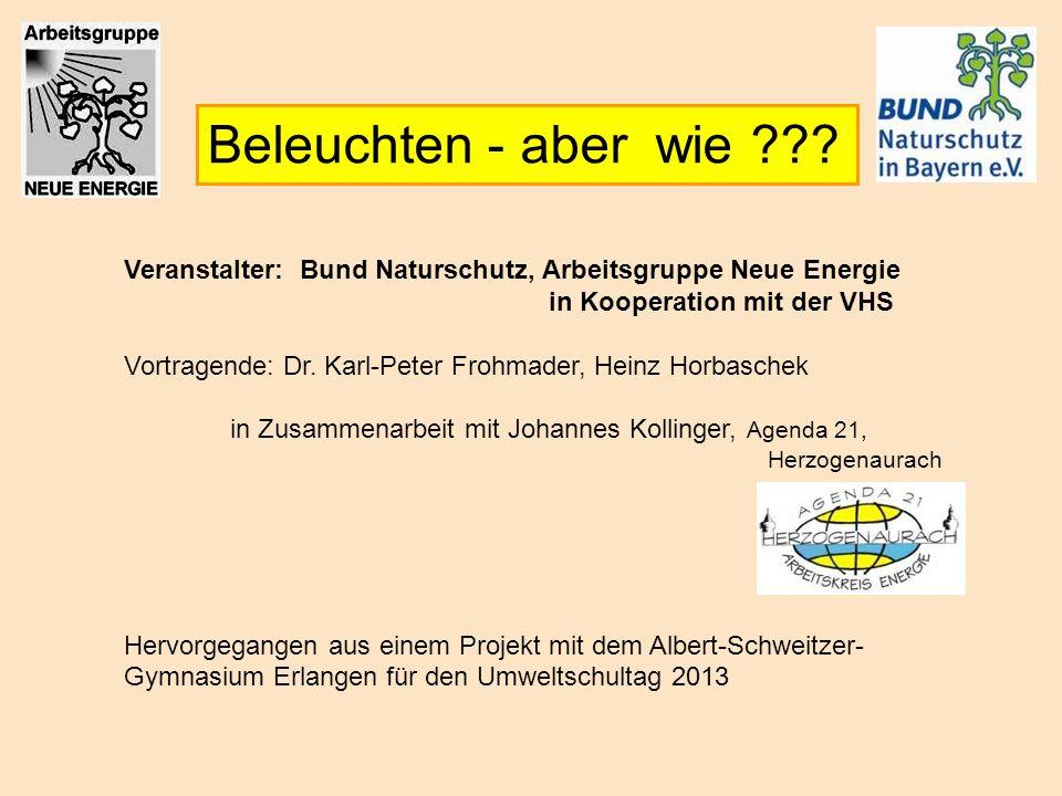 Beleuchten - aber wie Veranstalter: Bund Naturschutz, Arbeitsgruppe Neue Energie. in Kooperation mit der VHS.
