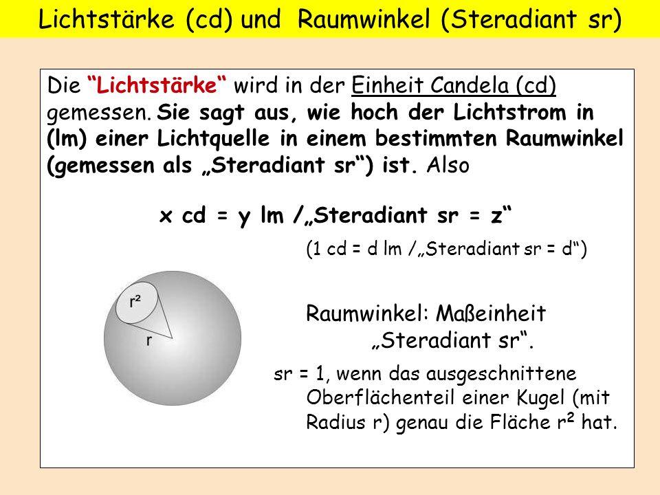 Lichtstärke (cd) und Raumwinkel (Steradiant sr)