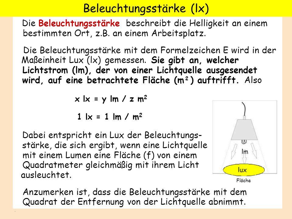Beleuchtungsstärke (lx)
