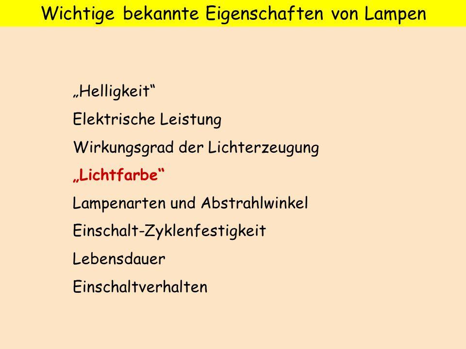 Wichtige bekannte Eigenschaften von Lampen