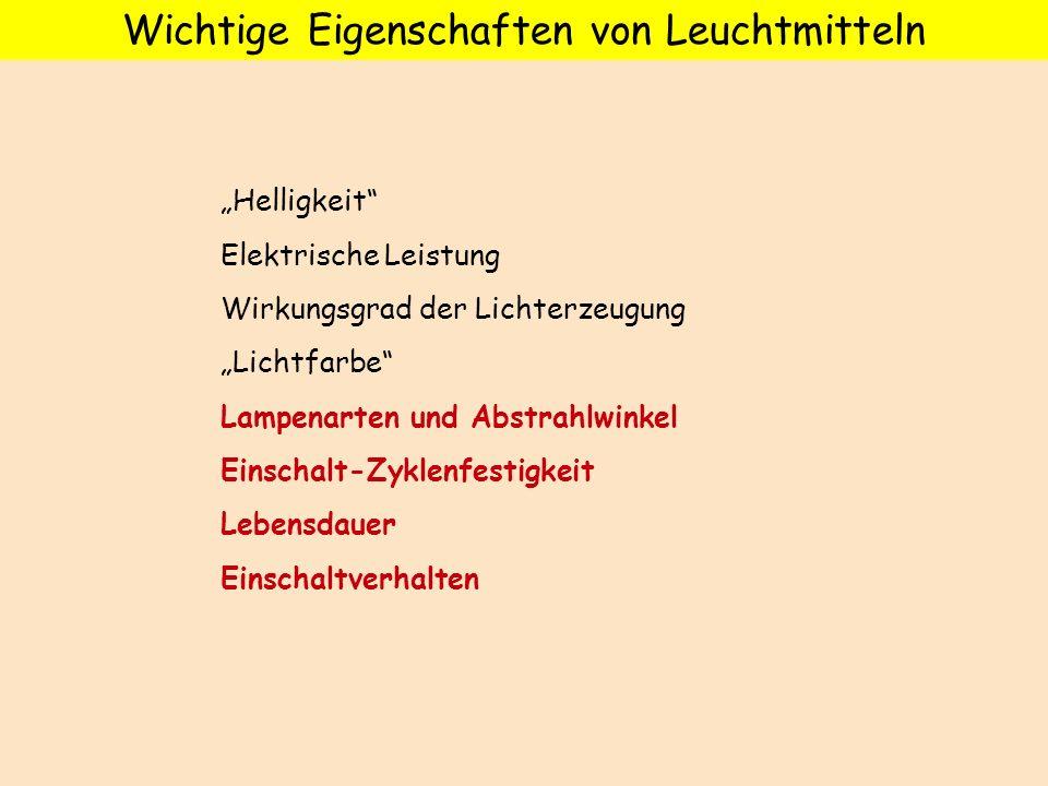 Wichtige Eigenschaften von Leuchtmitteln