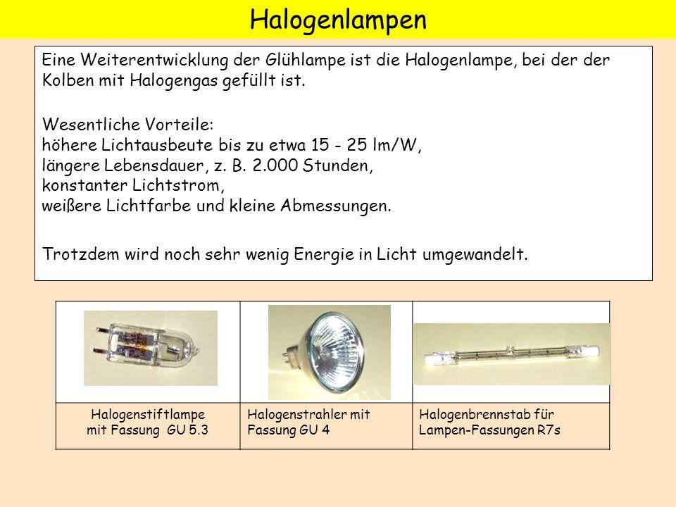Halogenstiftlampe mit Fassung GU 5.3