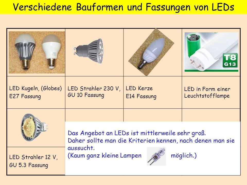 Verschiedene Bauformen und Fassungen von LEDs