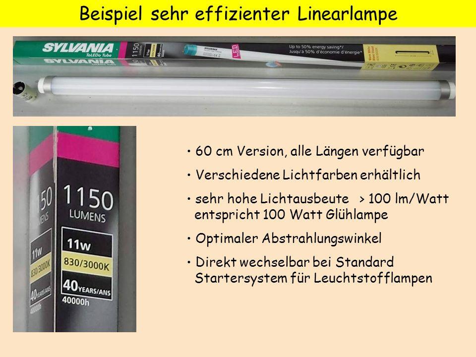 Beispiel sehr effizienter Linearlampe