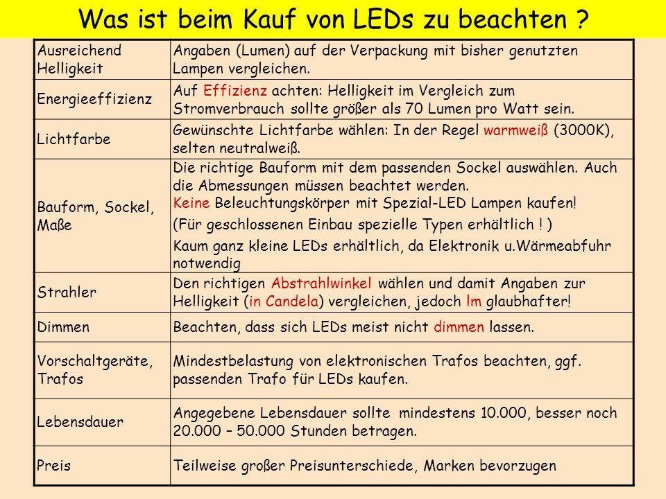 Was ist beim Kauf von LEDs zu beachten