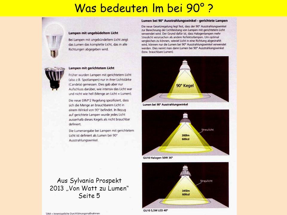 """Aus Sylvania Prospekt 2013 """"Von Watt zu Lumen Seite 5"""