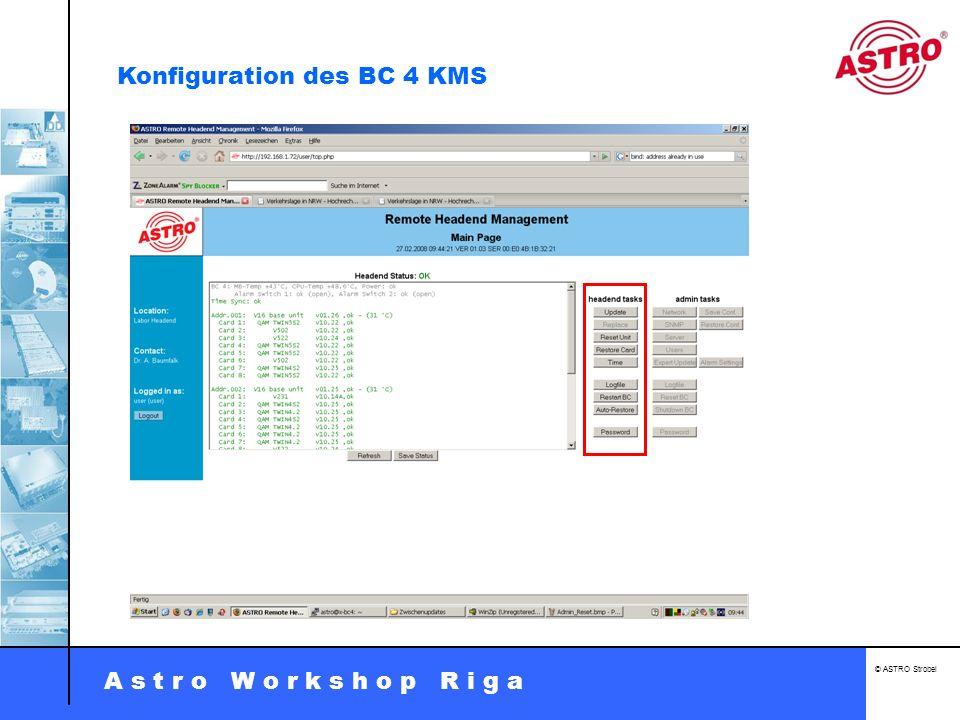Konfiguration des BC 4 KMS