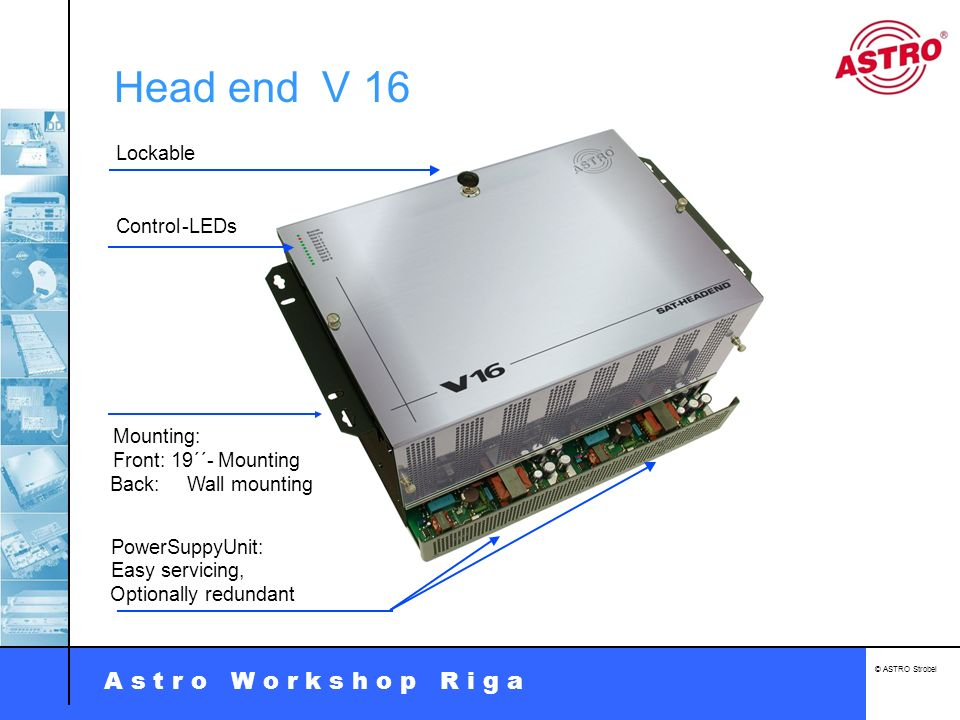 Head end V 16 Lockable - LEDs Control Front: 19´´- Mounting Mounting: