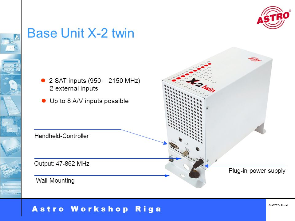 Base Unit X-2 twin  2 SAT-inputs (950 – 2150 MHz) 2 external inputs