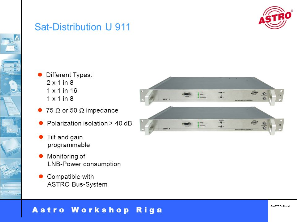 Sat-Distribution U 911  Different Types: 2 x 1 in 8 1 x 1 in 16