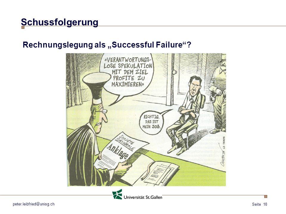 """Schussfolgerung Rechnungslegung als """"Successful Failure"""