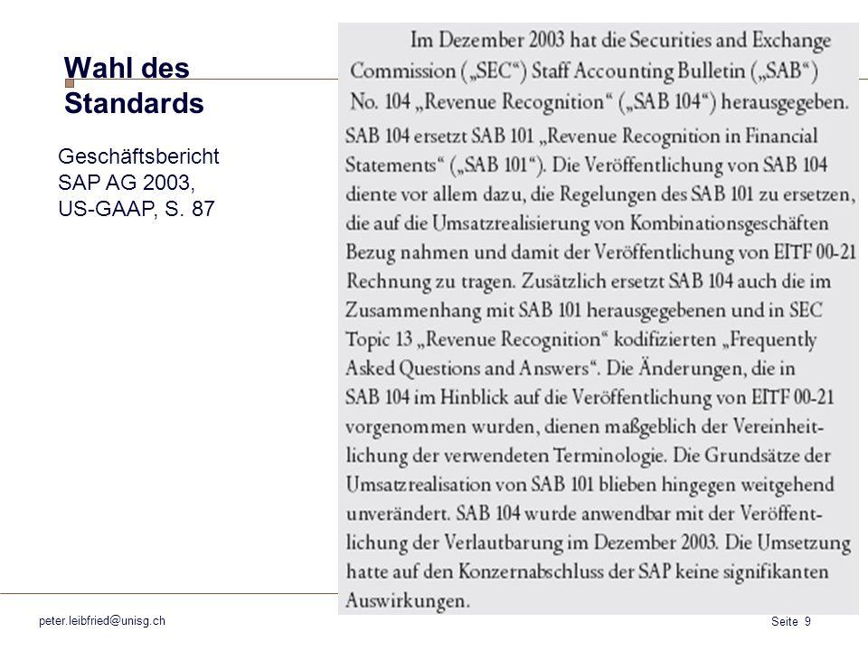 Wahl des Standards Geschäftsbericht SAP AG 2003, US-GAAP, S. 87