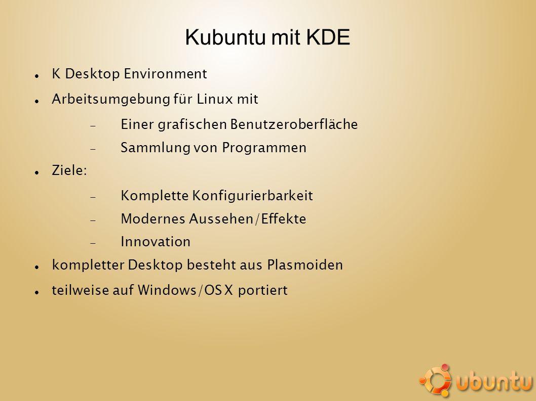 Kubuntu mit KDE K Desktop Environment Arbeitsumgebung für Linux mit