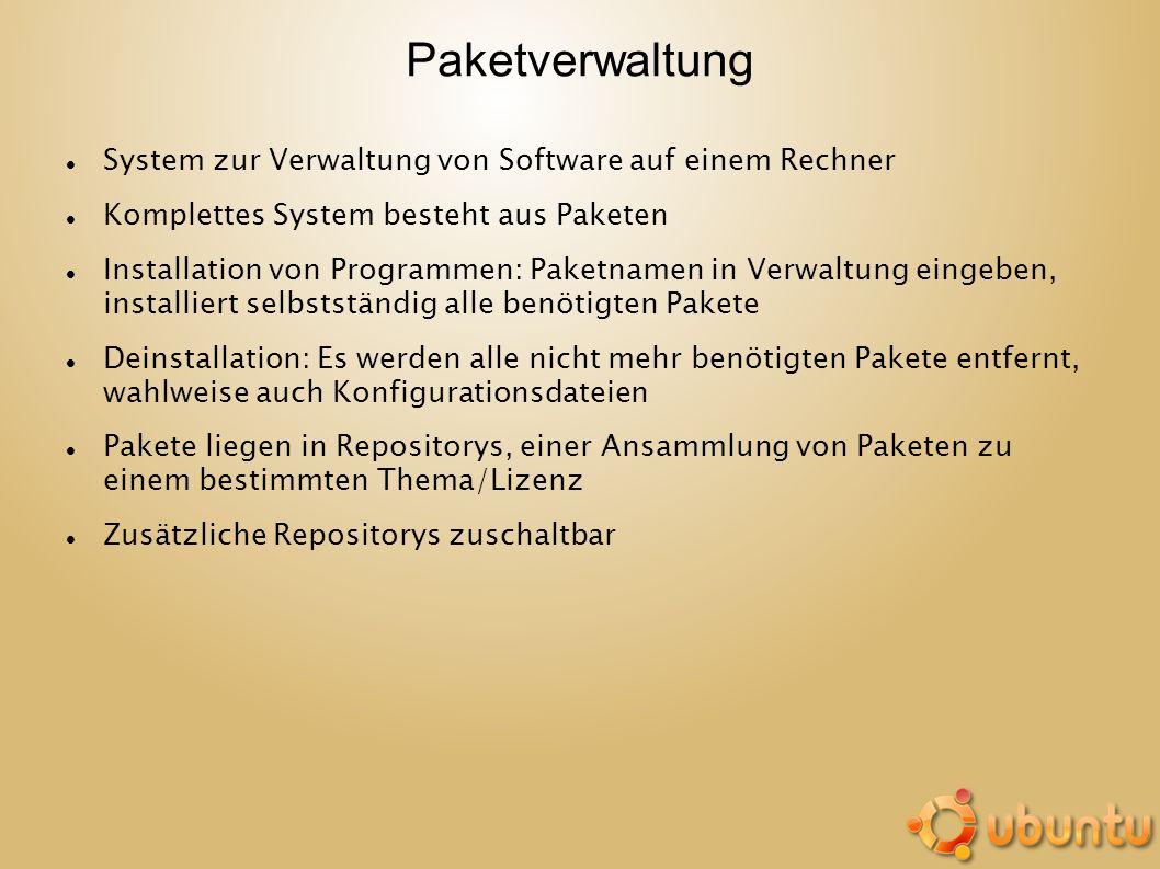 Paketverwaltung System zur Verwaltung von Software auf einem Rechner