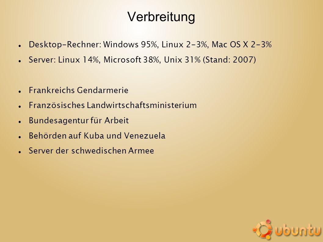 Verbreitung Desktop-Rechner: Windows 95%, Linux 2-3%, Mac OS X 2-3%