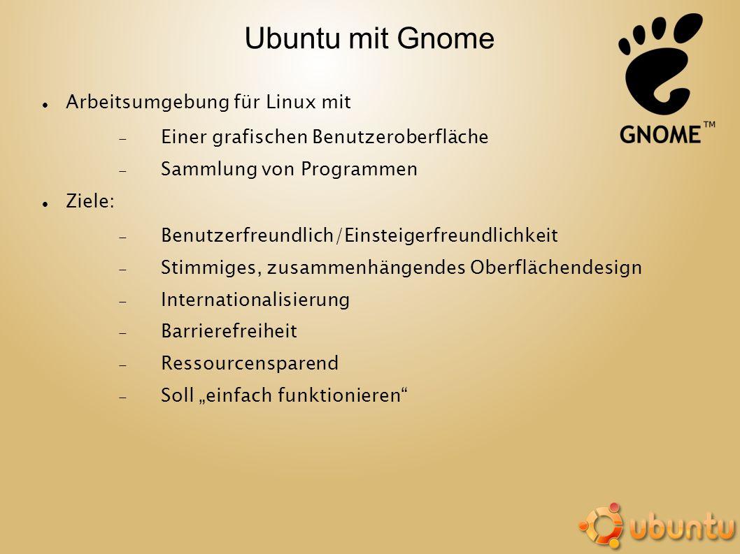 Ubuntu mit Gnome Arbeitsumgebung für Linux mit