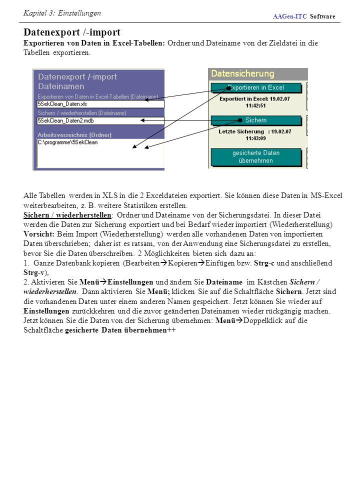 Datenexport /-import Kapitel 3: Einstellungen