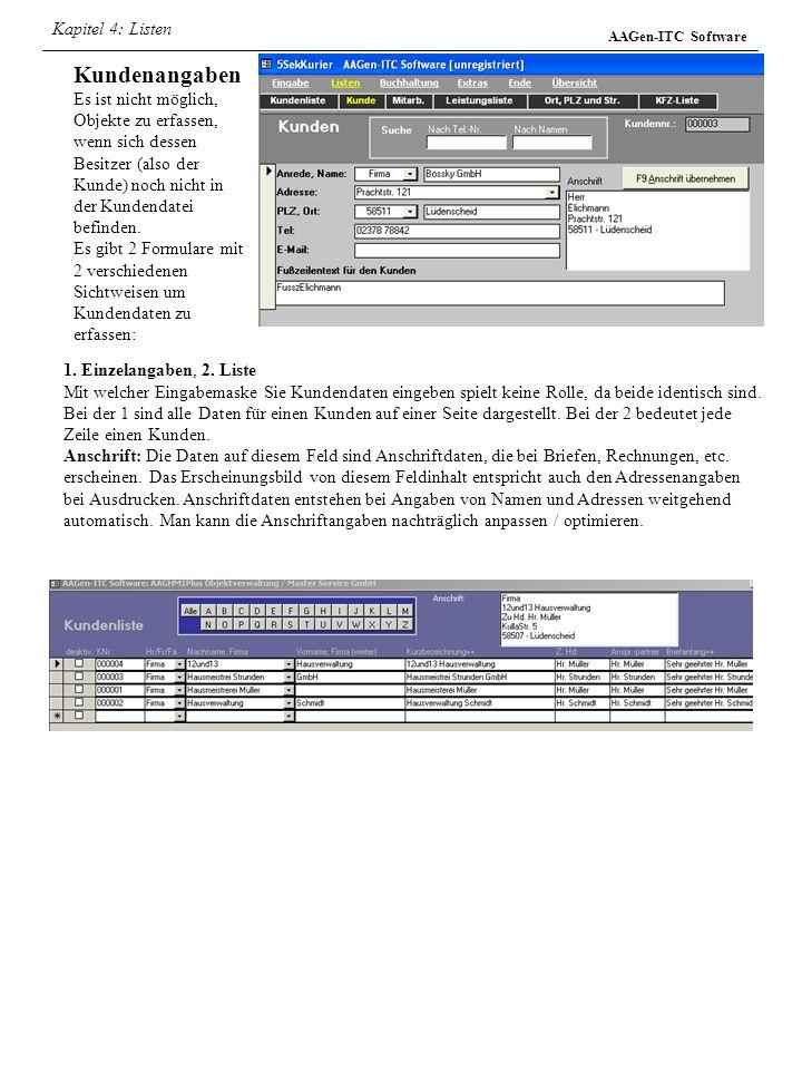 Kapitel 4: Listen AAGen-ITC Software.