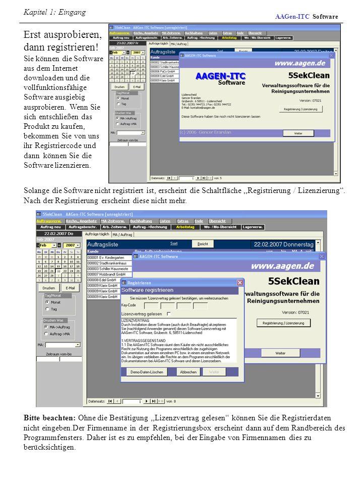 Kapitel 1: Eingang AAGen-ITC Software.
