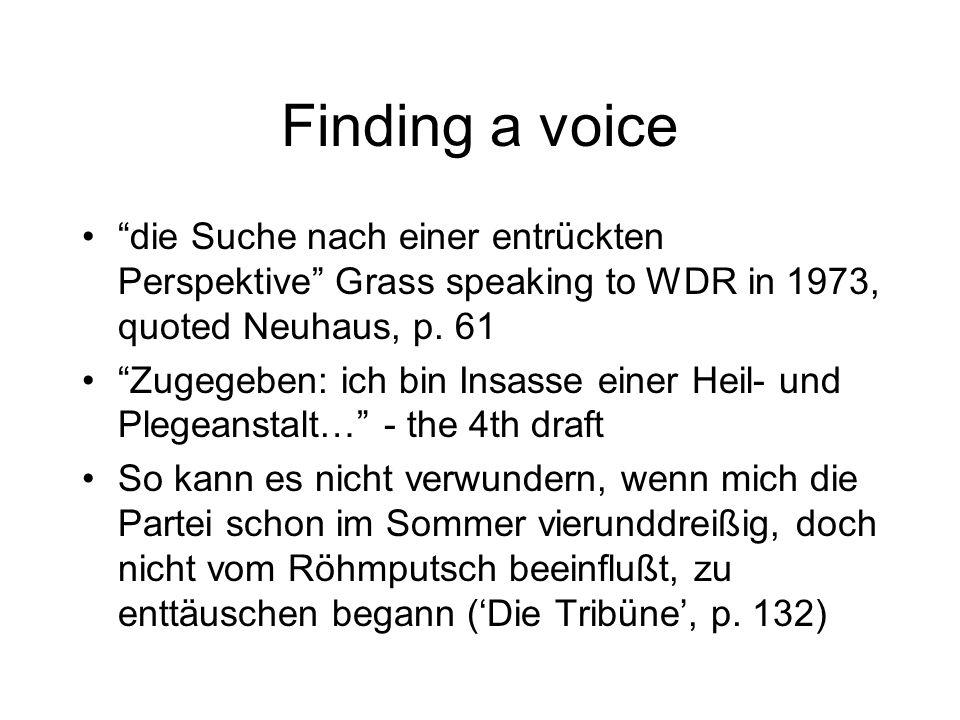 Finding a voice die Suche nach einer entrückten Perspektive Grass speaking to WDR in 1973, quoted Neuhaus, p. 61.