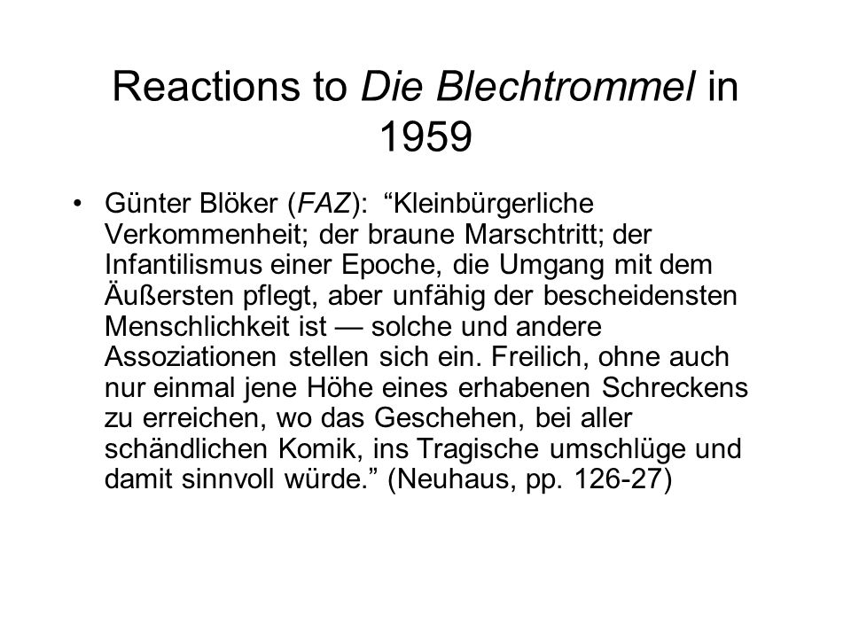 Reactions to Die Blechtrommel in 1959