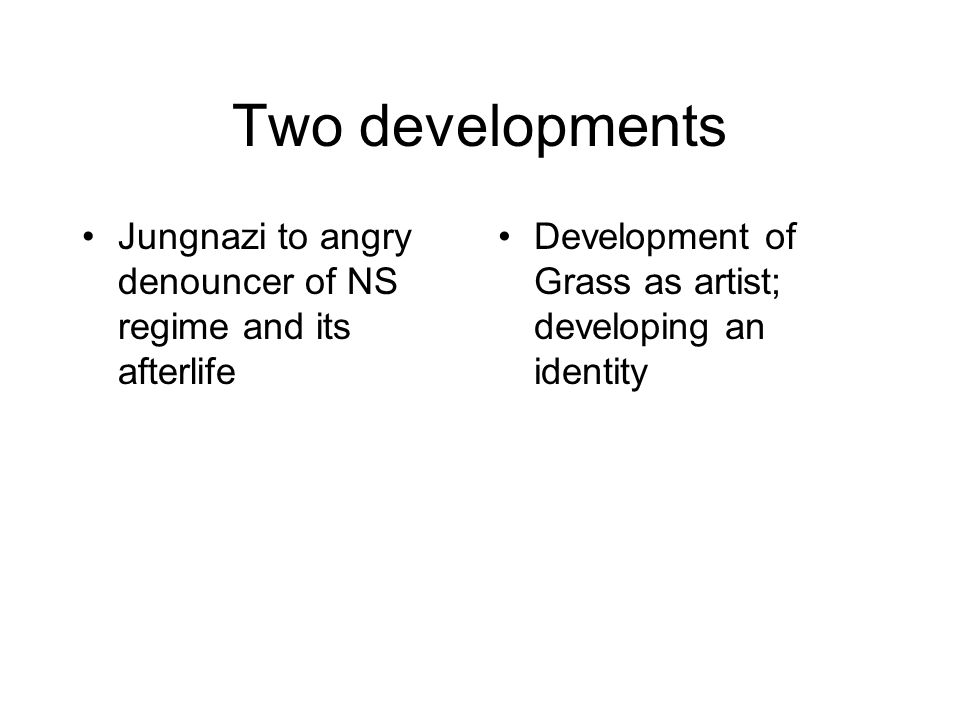 Two developments Jungnazi to angry denouncer of NS regime and its afterlife.