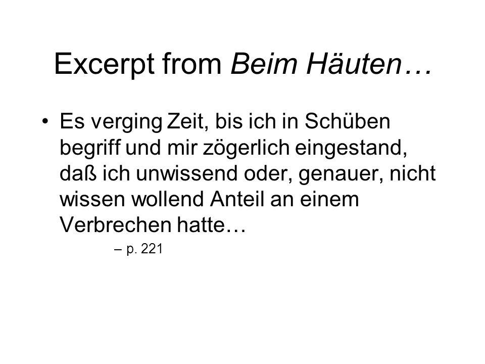 Excerpt from Beim Häuten…