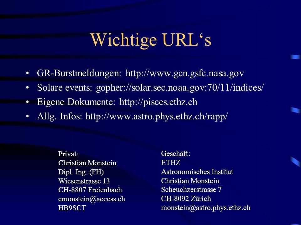 Wichtige URL's GR-Burstmeldungen: http://www.gcn.gsfc.nasa.gov