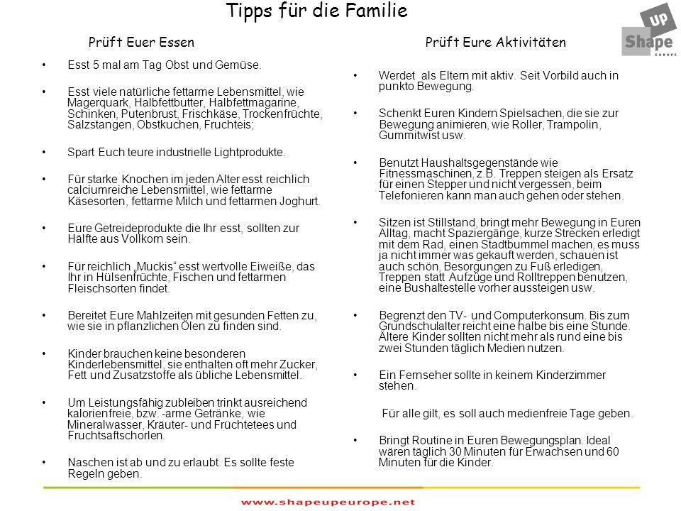 Tipps für die Familie Prüft Euer Essen Prüft Eure Aktivitäten