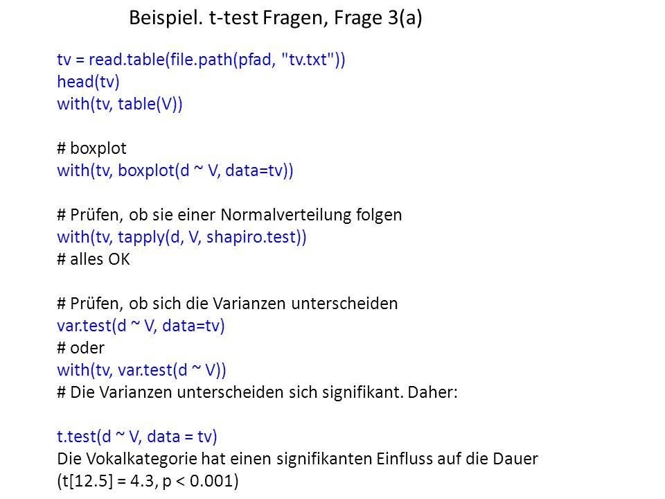 Beispiel. t-test Fragen, Frage 3(a)