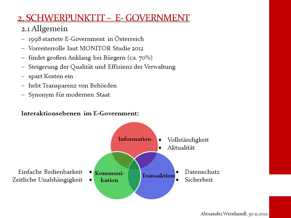2. Schwerpunkt IT – E- Government