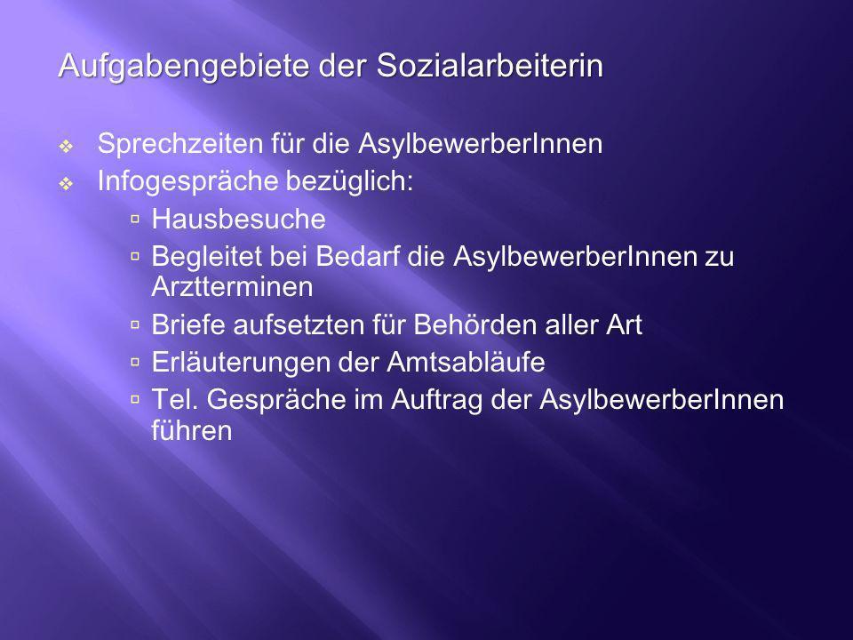 Aufgabengebiete der Sozialarbeiterin