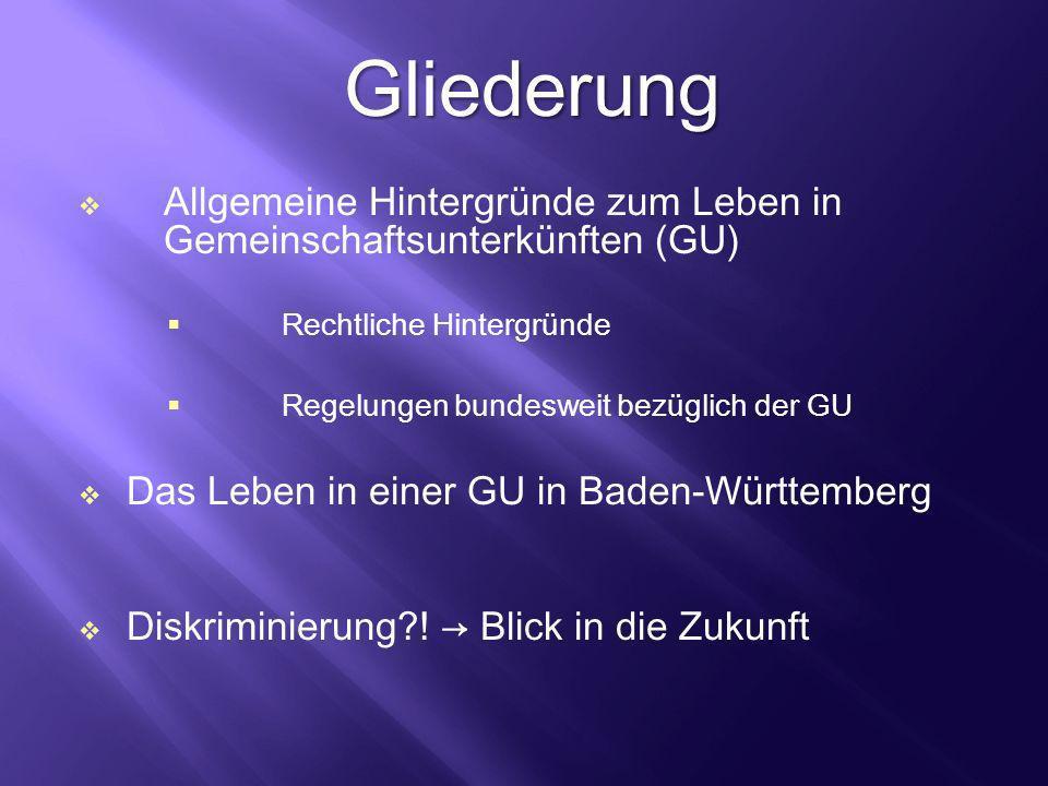 Gliederung Allgemeine Hintergründe zum Leben in Gemeinschaftsunterkünften (GU) Rechtliche Hintergründe.
