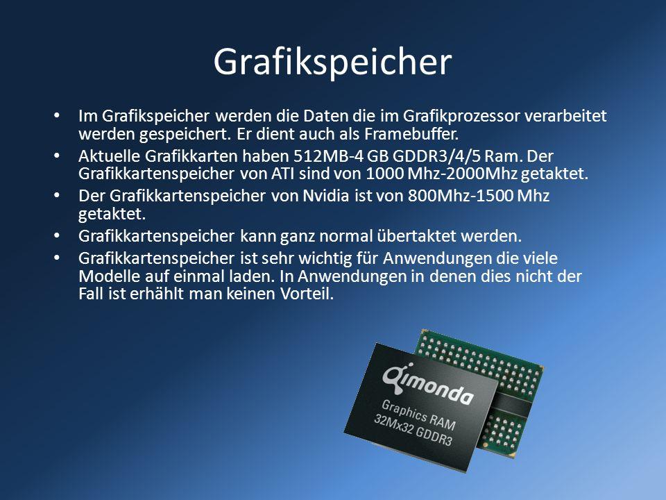 Grafikspeicher Im Grafikspeicher werden die Daten die im Grafikprozessor verarbeitet werden gespeichert. Er dient auch als Framebuffer.