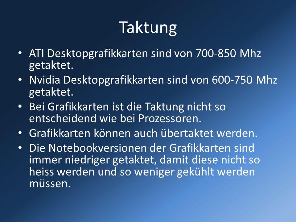 Taktung ATI Desktopgrafikkarten sind von 700-850 Mhz getaktet.