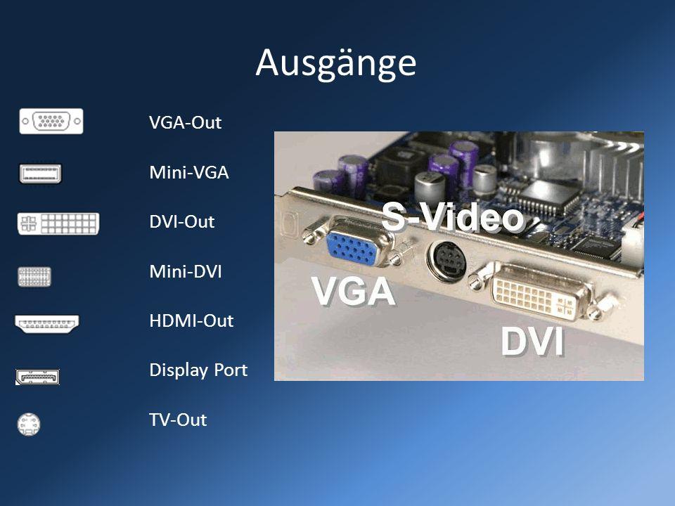Ausgänge VGA-Out Mini-VGA DVI-Out Mini-DVI HDMI-Out Display Port