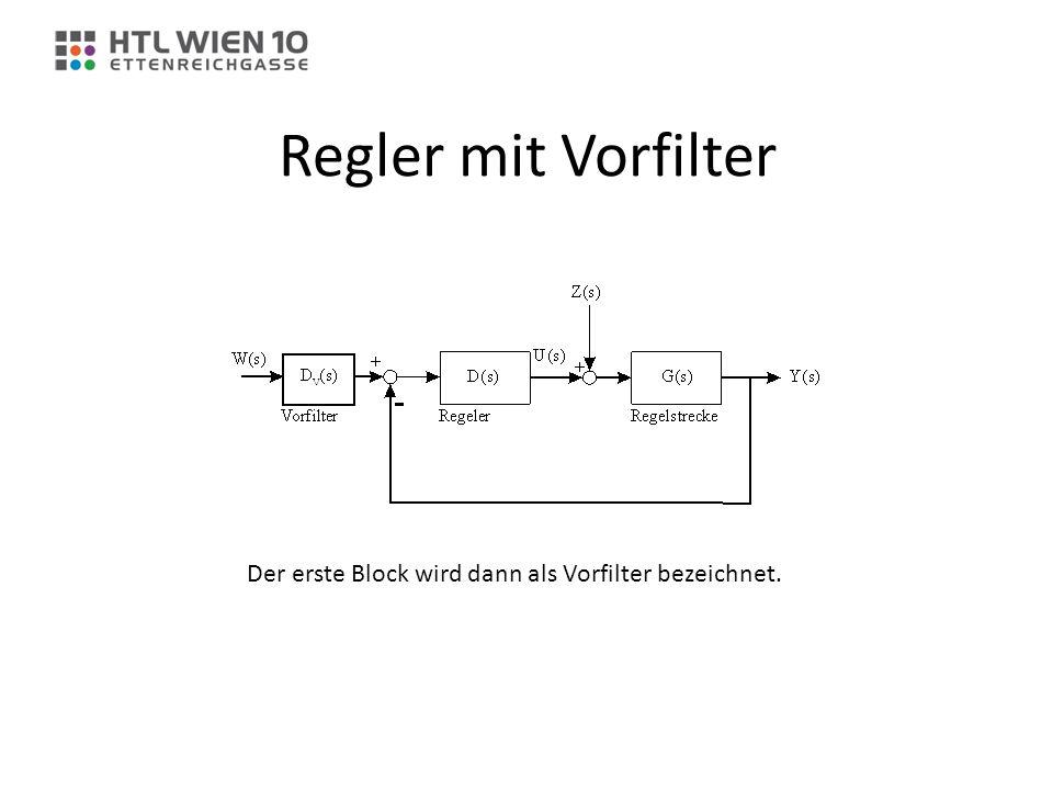 Regler mit Vorfilter Der erste Block wird dann als Vorfilter bezeichnet.