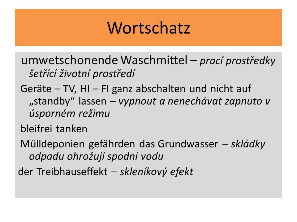 Wortschatzumwetschonende Waschmittel – prací prostředky šetřící životní prostředí.