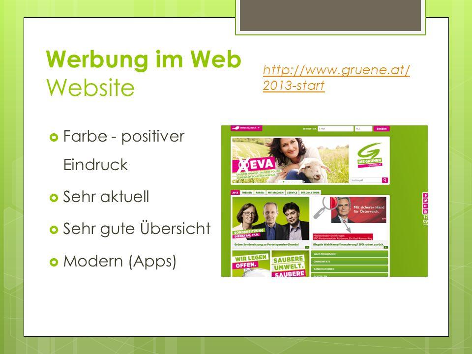 Werbung im Web Website Farbe - positiver Eindruck Sehr aktuell