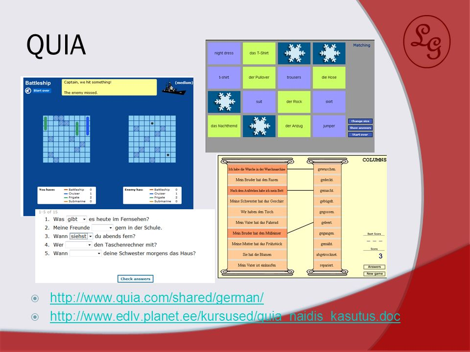 QUIA http://www.quia.com/shared/german/