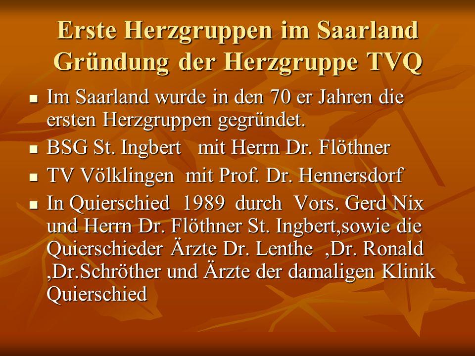 Erste Herzgruppen im Saarland Gründung der Herzgruppe TVQ
