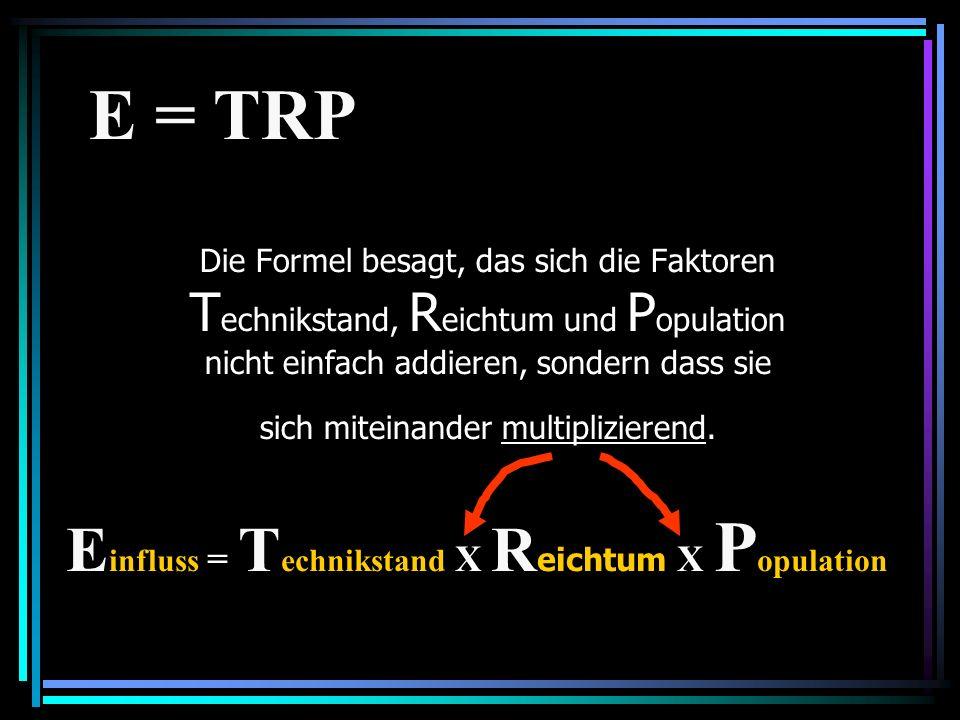 Einfluss = Technikstand X Reichtum X Population