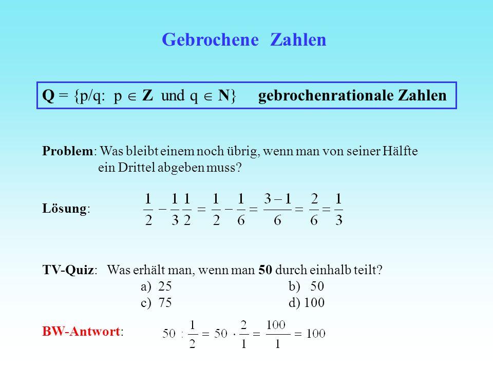 Gebrochene Zahlen Q = {p/q: p  Z und q  N} gebrochenrationale Zahlen